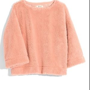 Madewell Peach Pink Faux Fur Crop Sweater XXS